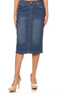 Blue Denim Pencil Skirt Style 77345 - The Skirt Boutique