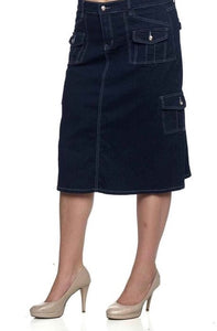 Mid Length Denim Skirt with Cargo Pockets style 86302 - The Skirt Boutique