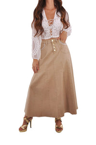 Khaki Charm Denim Skirt Style 0624 - The Skirt Boutique