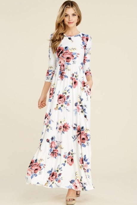 Floral Maxi Dress Style T7800 in Olive or New Navy - The Skirt Boutique