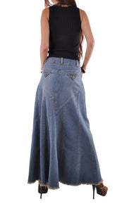 Fantastic Flared Long Denim Skirt Style 0543 - The Skirt Boutique
