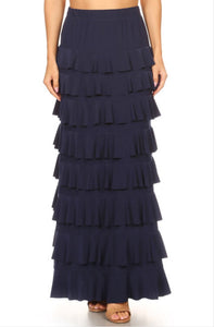 Ruffled A-line Maxi Skirt Style 194 in Black, Fuchsia or Navy - The Skirt Boutique