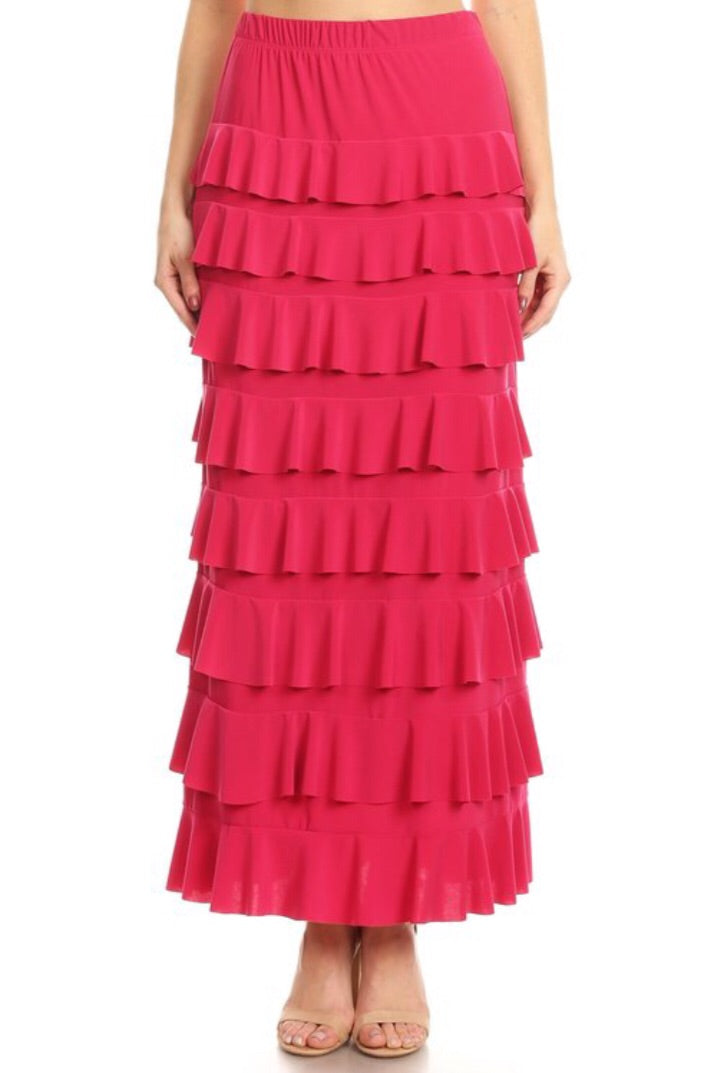Ruffled A-line Maxi Skirt Style 194 in Fuchsia - The Skirt Boutique