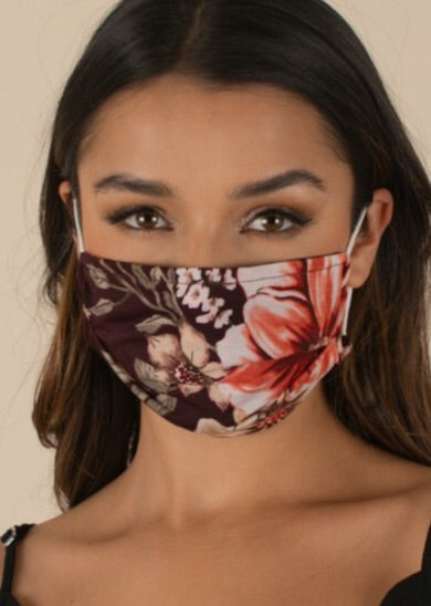 Burgundy Floral Face Mask Holiday