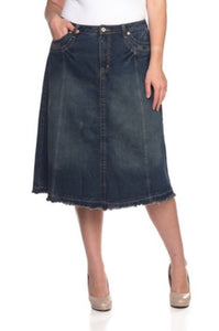 Calf Length A-line Denim Skirt Style 77114 - The Skirt Boutique