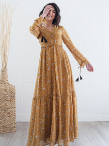 Luca Mustard Floral Dress Style 202022
