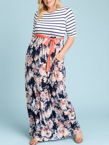 Floral Striped Maxi Dress Style 3618 Plus - The Skirt Boutique
