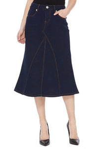 Calf Length Denim Skirt Style 77422 in Dark Blue Denim
