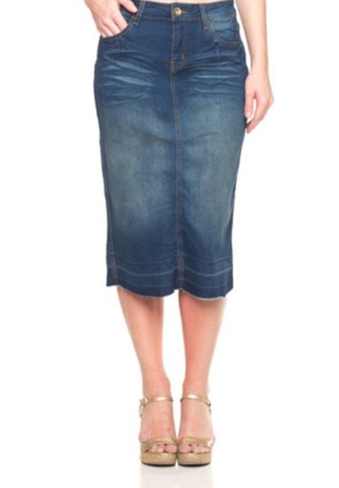 Calf Length Pencil Skirt Style 76415 in Vintage Denim - The Skirt Boutique
