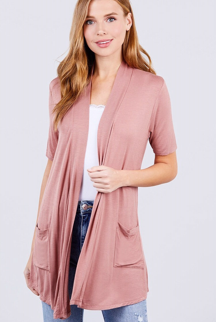 Short Sleeve Cardigan Style 11618 in Earthy Pink - The Skirt Boutique