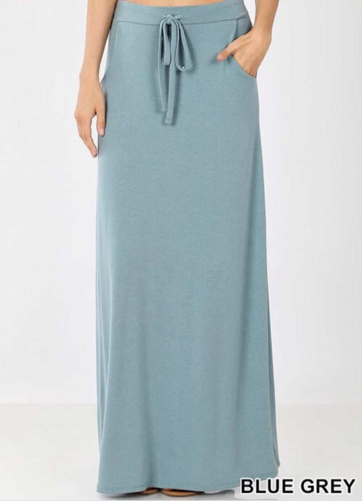 Sport Skirt Maxi Style 2335 in Blue Grey - The Skirt Boutique