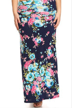 Plus Navy Floral Maxi Skirt Style 832 - The Skirt Boutique
