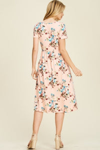 Floral A-line Dress Style T8223 in Blush or Mauve - The Skirt Boutique