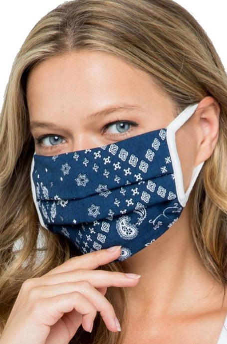 Face Mask Style AM3G-2NA in Navy Paisley