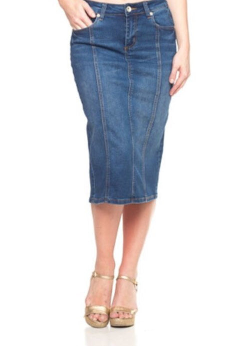 Panel Denim Pencil Skirt Style 77105 in Indigo - The Skirt Boutique