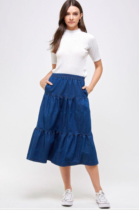 Cecilia Denim Tiered Skirt Style 1056
