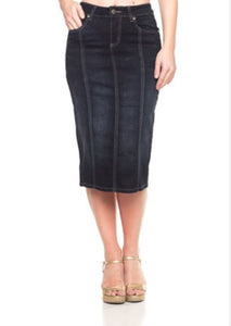 Panel Black Denim Pencil Skirt Style 77105 - The Skirt Boutique
