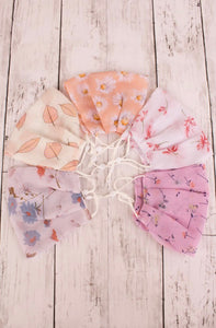 Chiffon Face Mask in Coral Blue Floral, White floral or Peach Daisy