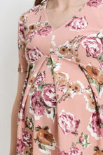V-Neck Floral Maternity Top Mauve 1447