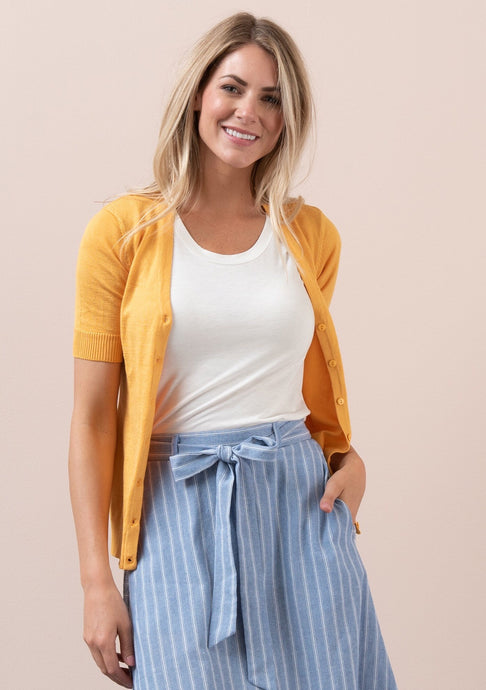 Summer V Neck Cardigan in Amber - The Skirt Boutique
