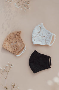 Lace Face-mask in Ivory, Black or Nude