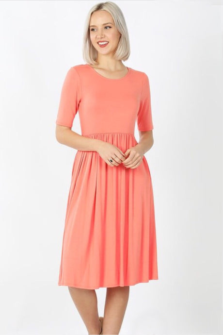 Midi Dress Style 7009 in Deep Coral - The Skirt Boutique