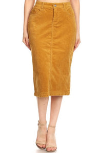 Camel Corduroy Skirt Style 77337 - The Skirt Boutique