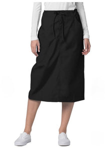 Medical Mid-Length Drawstring Scrub Skirt Black