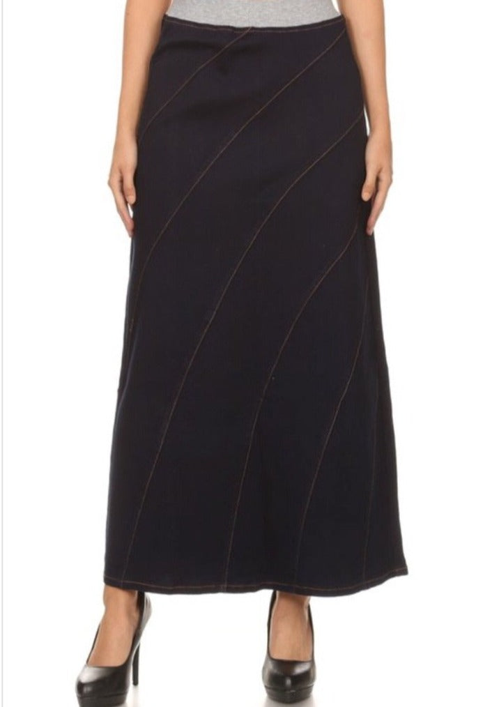 Stretch denim A-Line long skirt with lycra 87117
