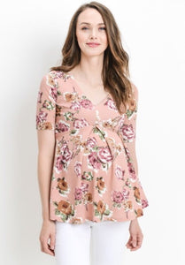 V-Neck Floral Maternity Top Mauve 1447 - The Skirt Boutique