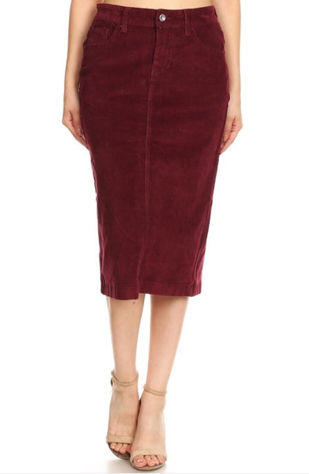 Burgundy Corduroy Skirt Style 77337 - The Skirt Boutique