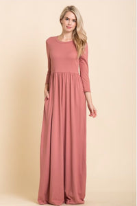 Solid Maxi Dress Style T7800 in New Wine, Black or Wine - The Skirt Boutique