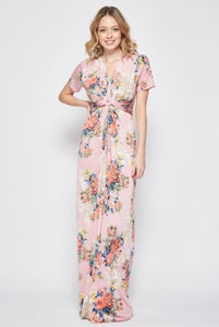 Tie Knot Maxi Dress in Pink Floral style 3377