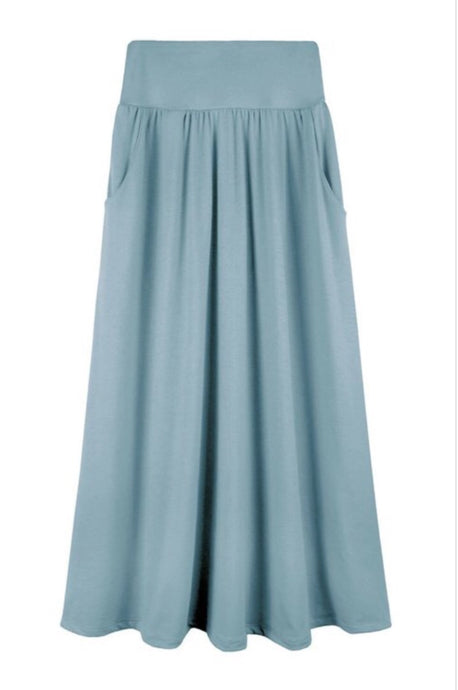 Gathered Maxi Skirt for Girls Style 403 in Dusty Blue, Apricot or Black - The Skirt Boutique