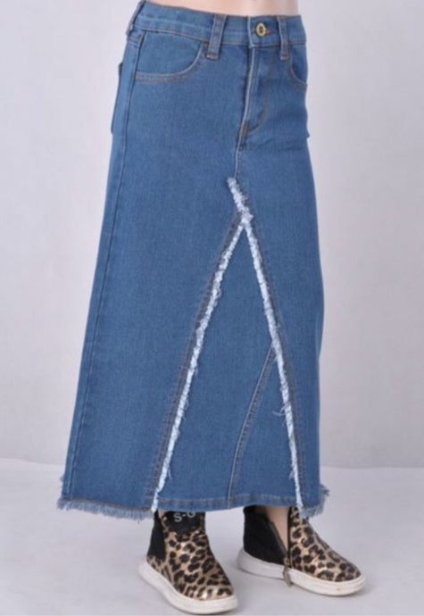 Girls Long Denim Skirt Style 87406 - The Skirt Boutique