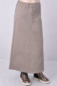 Girls Long Denim Skirt Style in Tan 87408 - The Skirt Boutique