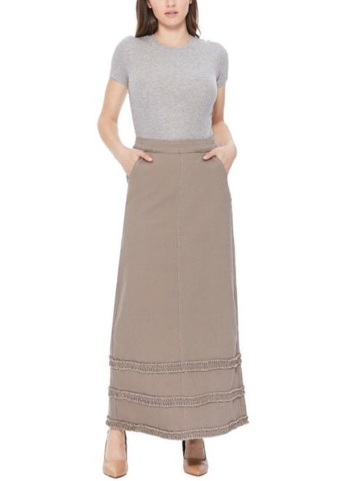 Ladies Long Denim Skirt with ruffles in tan Style 87254 - The Skirt Boutique