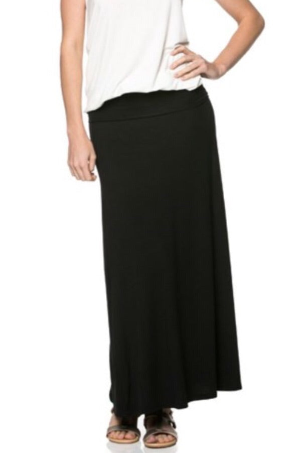 Long Maxi Skirt 9001 in black, dusty rose or ivory - The Skirt Boutique