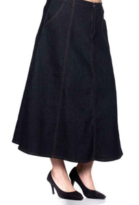 Long Denim Panel Skirt Style 86179 - The Skirt Boutique