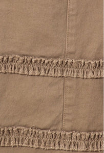 Plus Long Denim Skirt with ruffles in tan Style 87254X - The Skirt Boutique