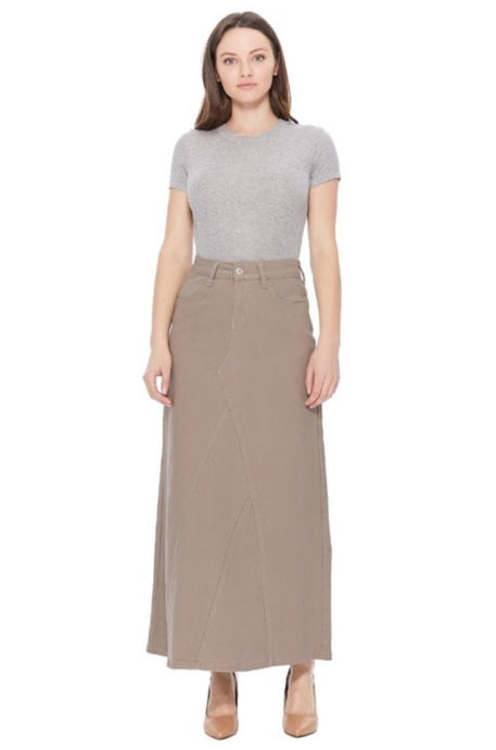 Ladies Long Tan Denim Skirt Style 87408 - The Skirt Boutique