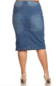 Pencil Denim Plus Skirt Style 77239X - The Skirt Boutique