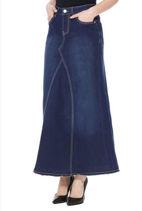 Long Blue Denim Skirt Style 87342 - The Skirt Boutique