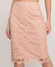 Peach Blush Crochet Lace Midi Skirt Style 9437 - The Skirt Boutique