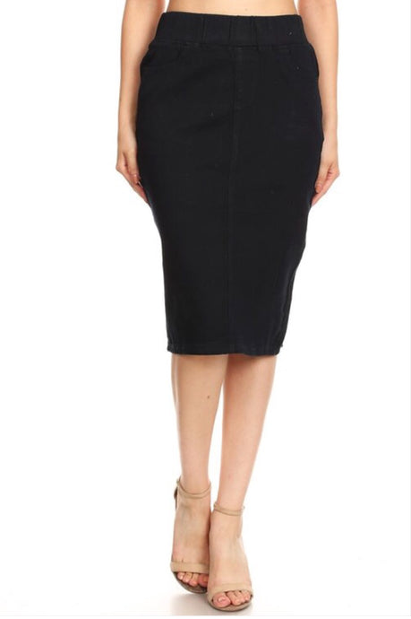 Denim Pencil Skirt Style 77272 Dark Blue - The Skirt Boutique