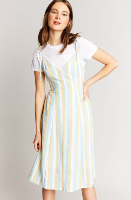 Stripe Shoulder-Tie Midi Ice Mix Dress 6524 - The Skirt Boutique