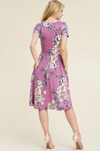 Navy Floral Midi Dress Style 8377 - The Skirt Boutique