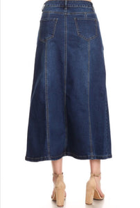 Long Denim Skirt Style 130 in light or blue denim - The Skirt Boutique
