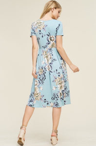 Navy Floral Midi Dress Size Style 8223 - The Skirt Boutique