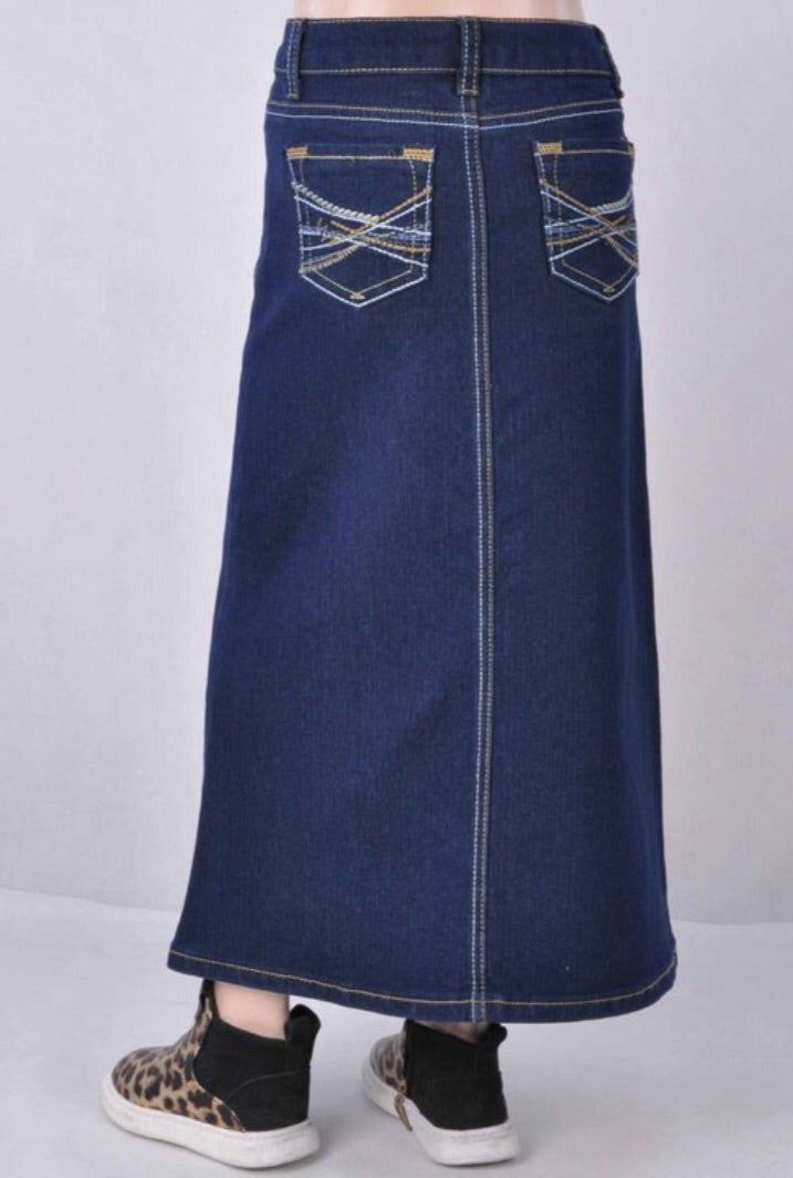 Girls Long Denim Skirt Style 87400 - The Skirt Boutique